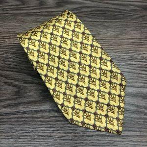 Burberry Yellow w/ Gold & Blue Bit Link Tie